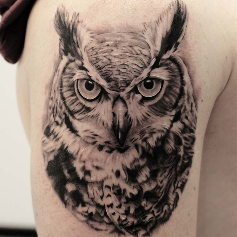 horned owl tattoo
